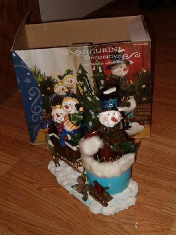 snowman & three snow-children decorative larger figure
