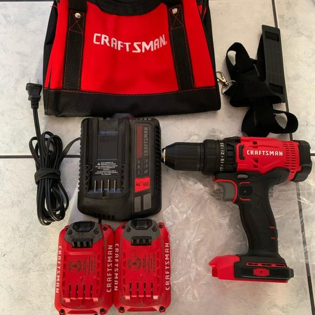 """New CRAFTSMAN 20V Max 1/2"""" Drill/Driver Power Tool Kit (2-Batteries and Charger)"""