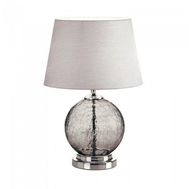 Gray Crackle Glass Table Lamp Shiny Silver Base Silk Fabric Shade Brand New