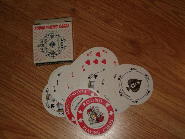 playing cards  round with  flower design