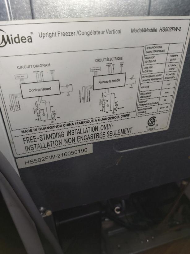 Midea upright Freezer