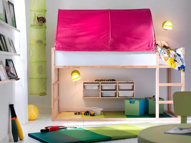 Ikea Bunk Bed Kura Reversible W Blue Canopy