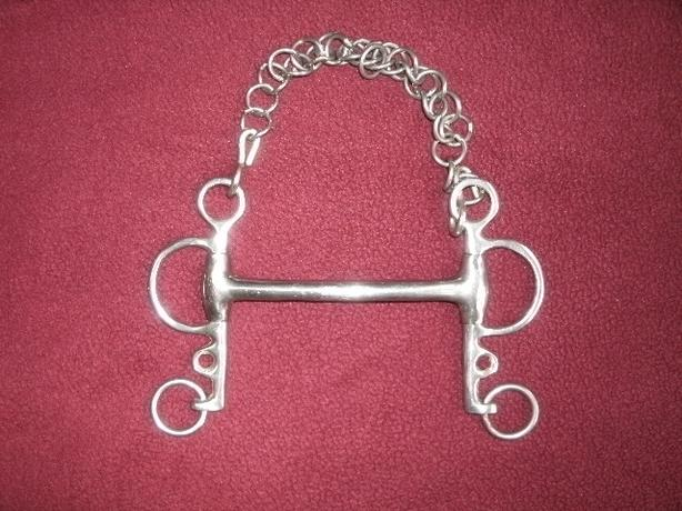 """Mullen Mouth Tom Thumb Pelham 5"""" Bit with curb chain"""