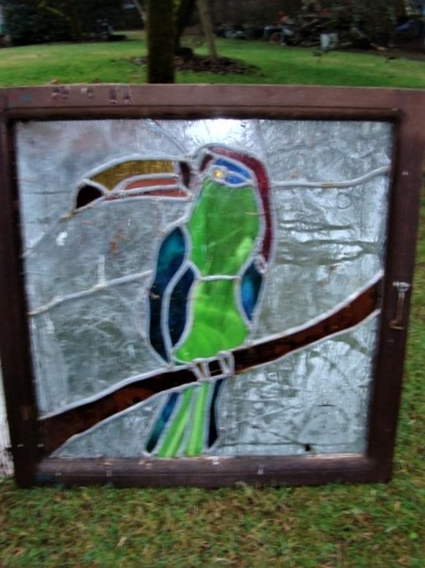 Vintage Wood Frame Stained Glass Window