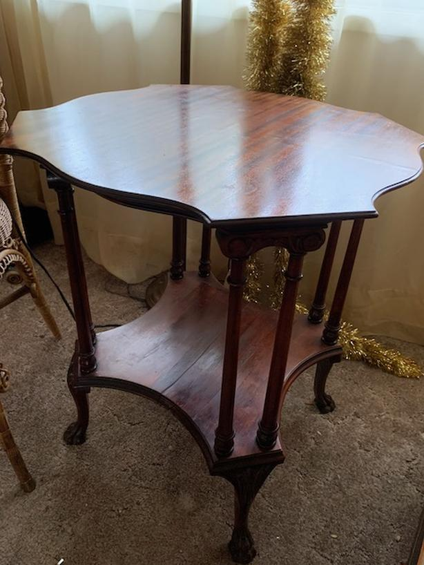 ANTIQUE OCCASIONAL TABLE WITH LOWER SHELF