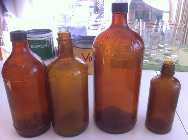 Antique JAVEX/LYSOL Bottles-Late 1800's-Early 1900's