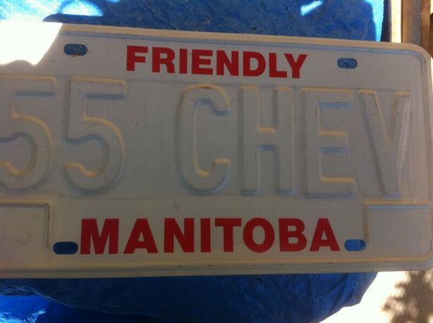 Manitoba 1983 Vintage License Plate-1955 CHEV.