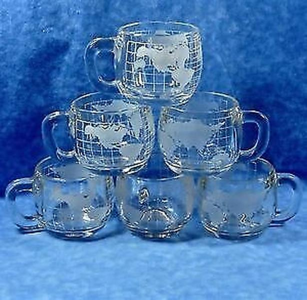 coffee or tea,cup frosted etched Nestle Nescafe world-7cups