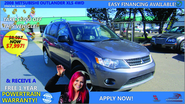 2008 Mitsubishi Outlander XLS 4WD - On Sale Now !!