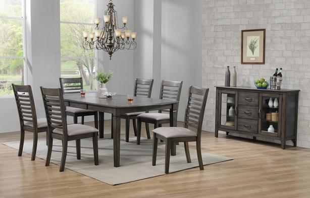 Annapolis - 7 piece Contemporary Grey Hardwood Dining Set