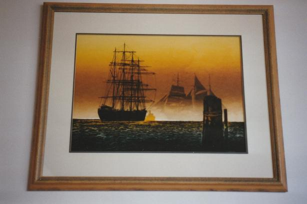 "Elton Bennett Serigraph ""Down to the Sea""  early 1970's"