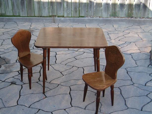 wooden table - two chairs , solid wooded,