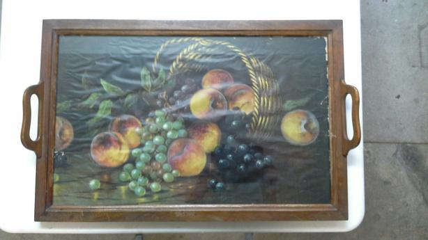Glass top wood serving tray.