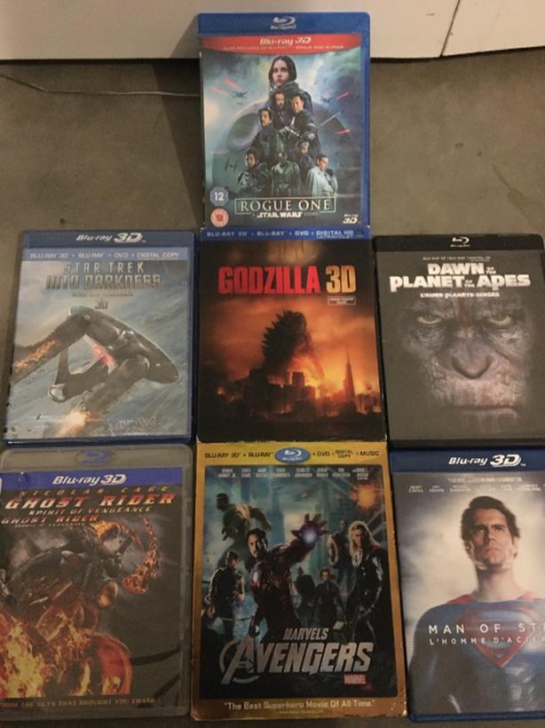 8 3D Blu-Ray Movies: Star Wars / Trek, Godzilla, Planet Apes, Avengers,