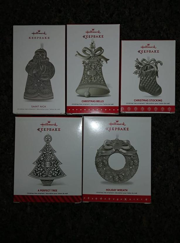 Set of 5 Hallmark metal dated series Christmas ornaments