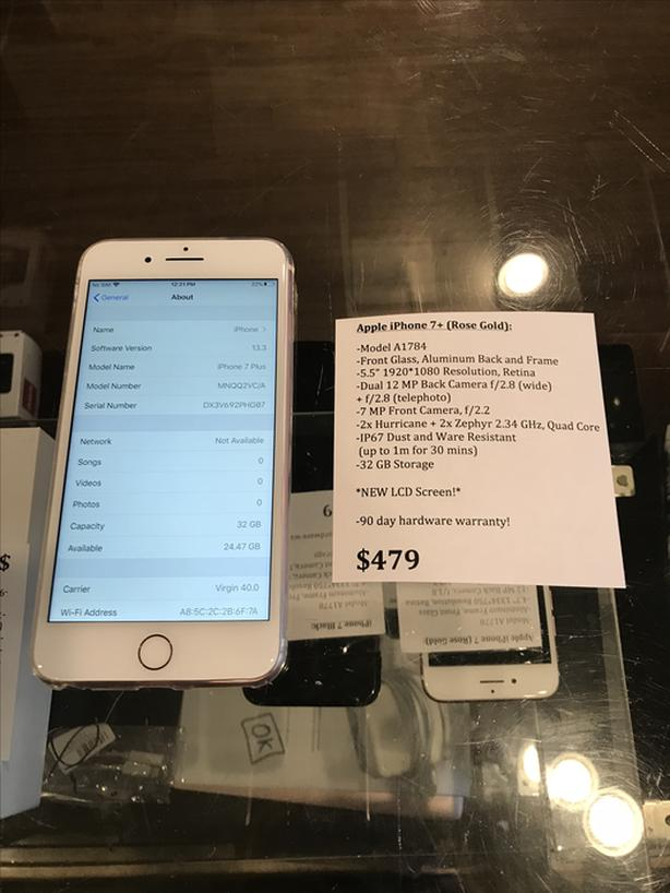 UNLOCKED iPhone 7+ Rose Gold 32 GB NEW LCD Screen w/ Warranty!