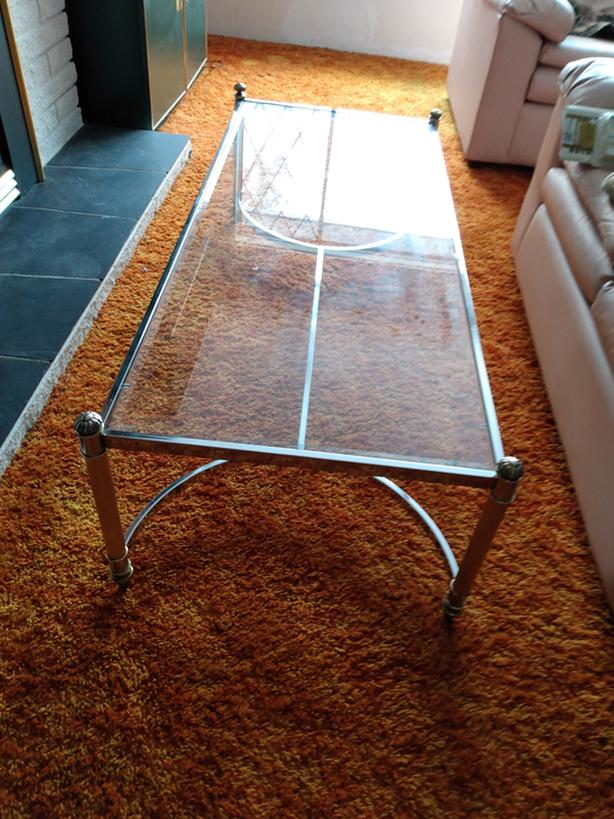Glass and brass tables $75 obo