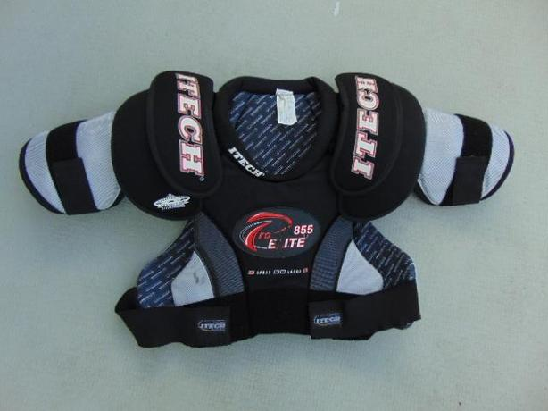 Hockey Shoulder Chest Pad Men's Size Large Itech Elite Black Red