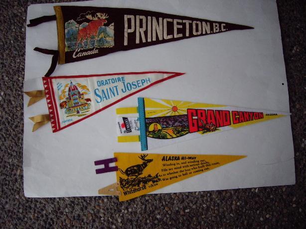 50'S PENNANTS-  PRINCETON BC, ORATOIRE ST JOSEPH, GRAND CANYON, ALASKA