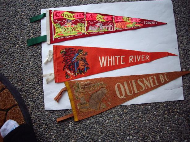 40-50'S PENNANTS CANADIAN NATIONAL EXHIBITION TORONTO, WHITE RIVERK QUESNEL BC