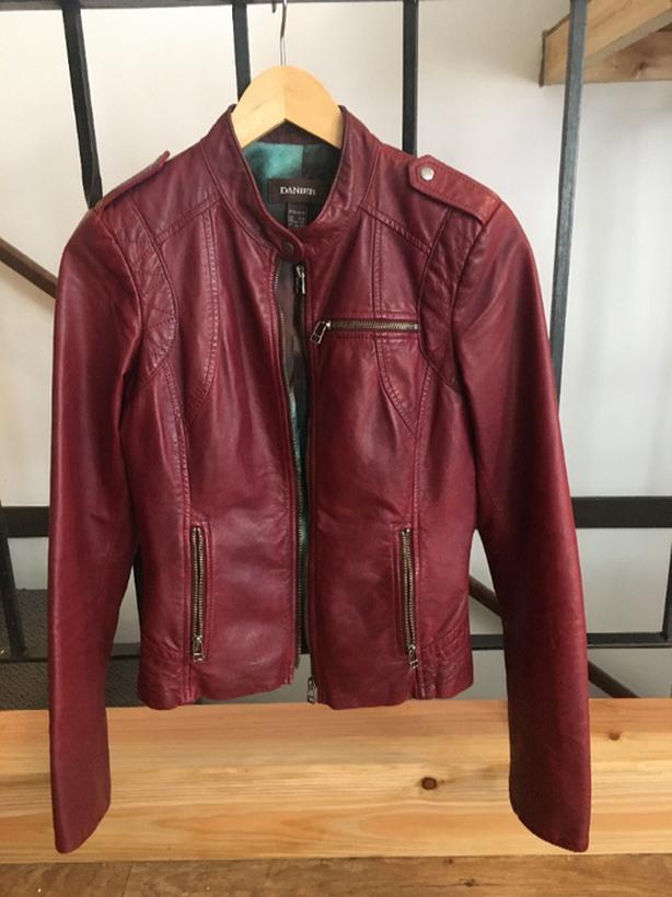 200 OBO Danier Burgundy Leather Bomber Jacket