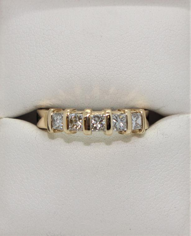 #I-13801 14K Yellow Gold Princess Cut Diamond Ring