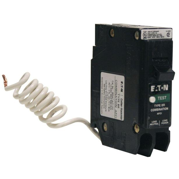 Eaton 15 Amp BR Type 1-Pole AFCI Breaker with Self-Test