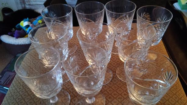 Pinwheel Crystal Wine Glasses - set of 10