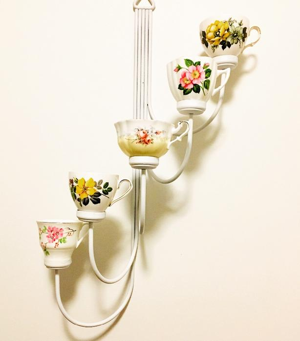 Funky teacup  votive candleholder or plant stand