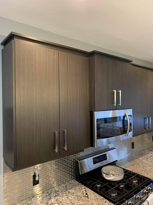 Custom Upper Kitchen Cabinets and Range hood microwave