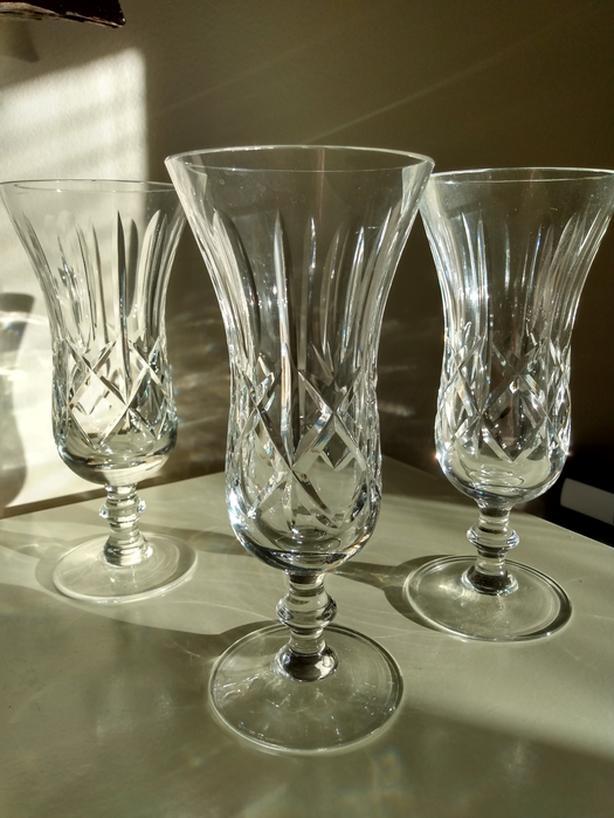3 SLENDER ELEGANT CRYSTAL DESSERT CUPS.