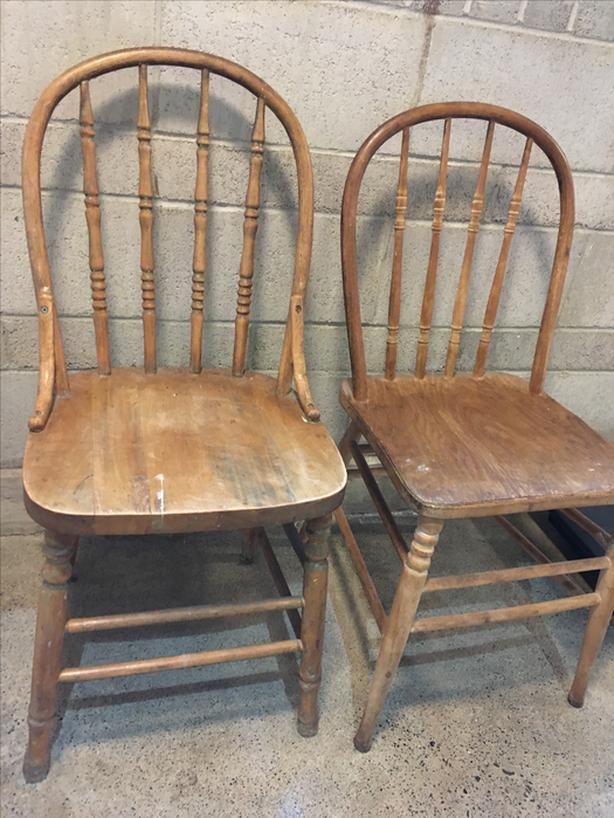Windsor back wooden chairs, ready to refinish
