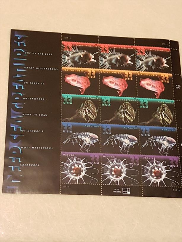 MINT US STAMPS - DEEP SEA CREATURES- SELLING BELOW FACE VALUE