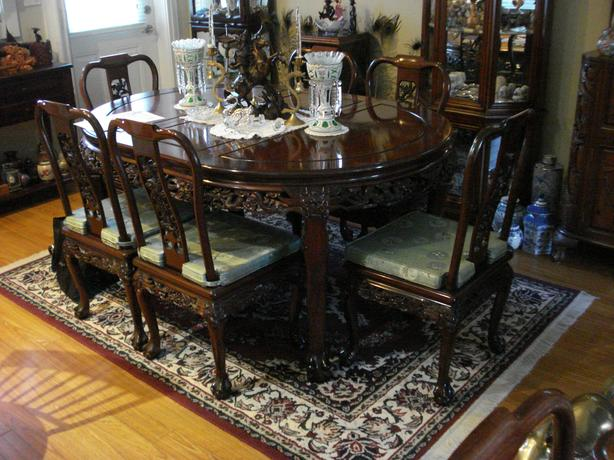 Hand Carved Asian Table and 10 Chairs