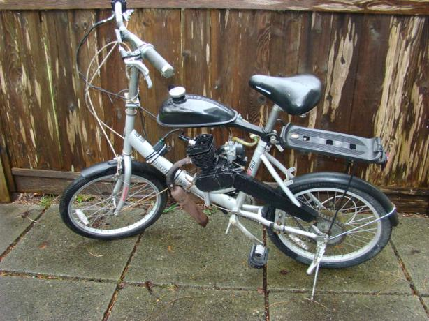 Folding Six Speed Mongoose Bike with Gas Engine