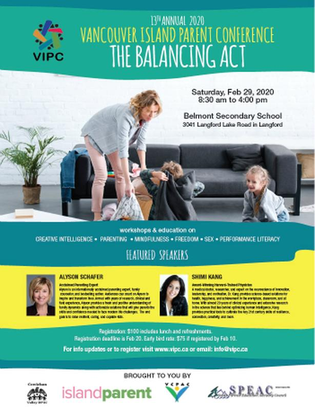 Early Bird Deadline Feb 10! Vancouver Island Parent Conference