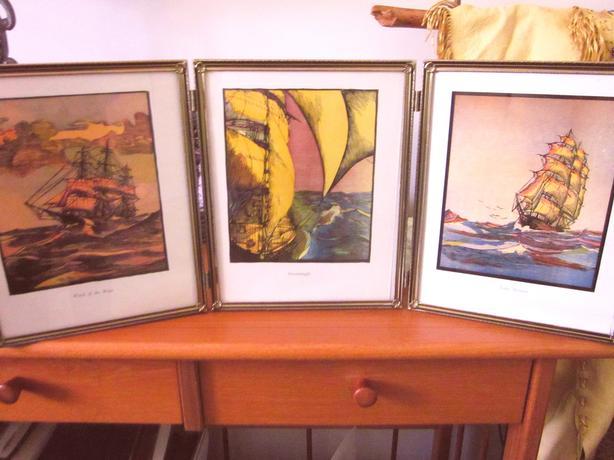 Vintage Nautical Art, 1936 Clipper Sailing Ship prints with framing -