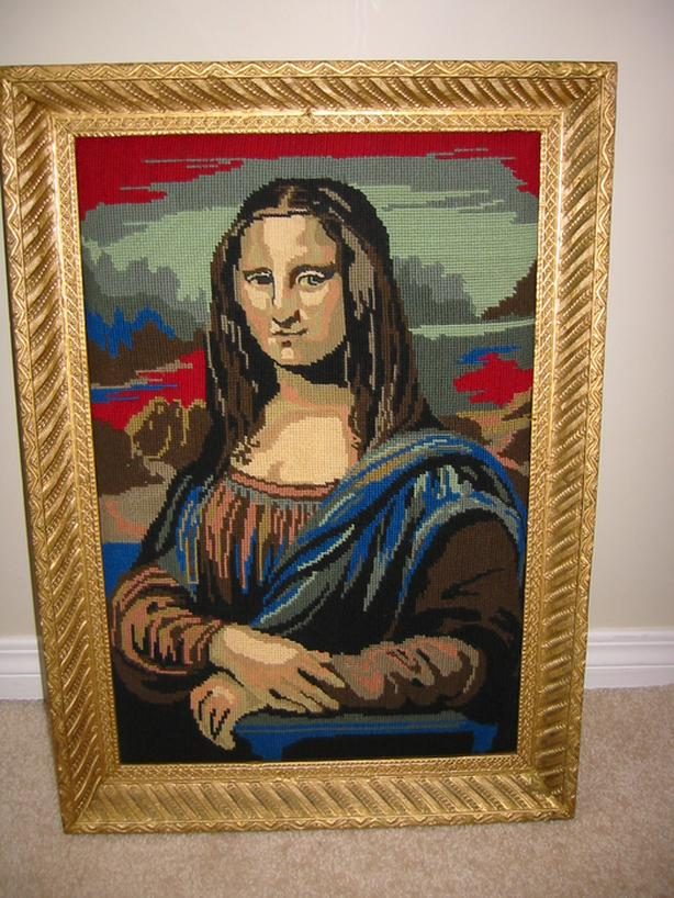 MAGNIFICENT ANTIQUE WOOD FRAME with MONA LISA needlepoint painting