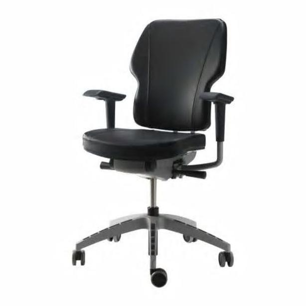 Ikea KLAPPE Swivel Office Chair - Black Leather Seat & Back