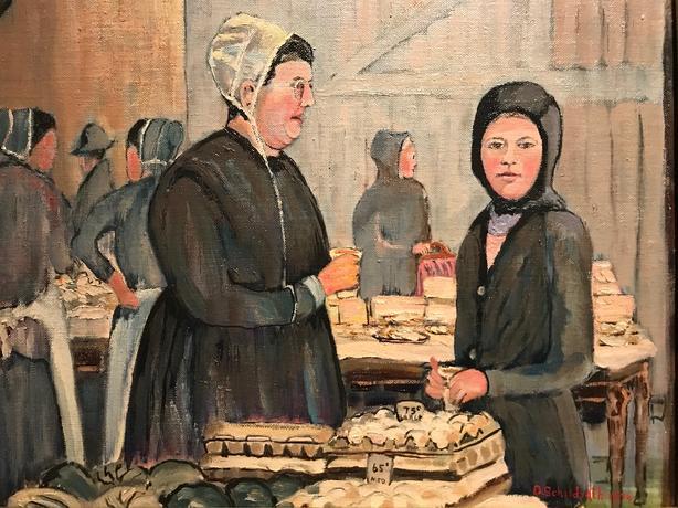 Donald Schildroth signed oil painting on board / Mennonite market scene. Framed