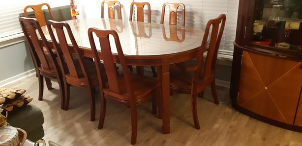 Convertible pine wood dinner table and 8 chairs