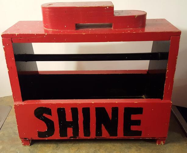 Vintage HandMade Wood Shoe Shine Box Folk Art Large Red