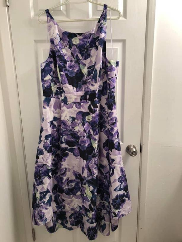 Floral purple dress with high-low bottom in size 16