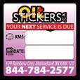 500 x Custom Oil Change Reminder Service Stickers Window Clings