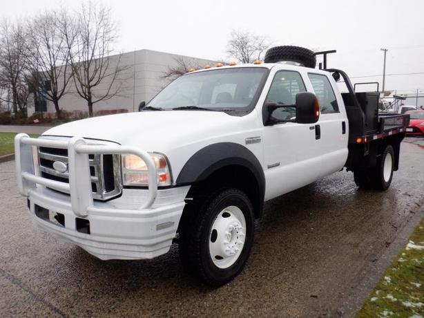 2007 Ford F-550 9 Foot Flat Deck Crew Cab 4WD Dually Diesel With Dual Fuel Tank