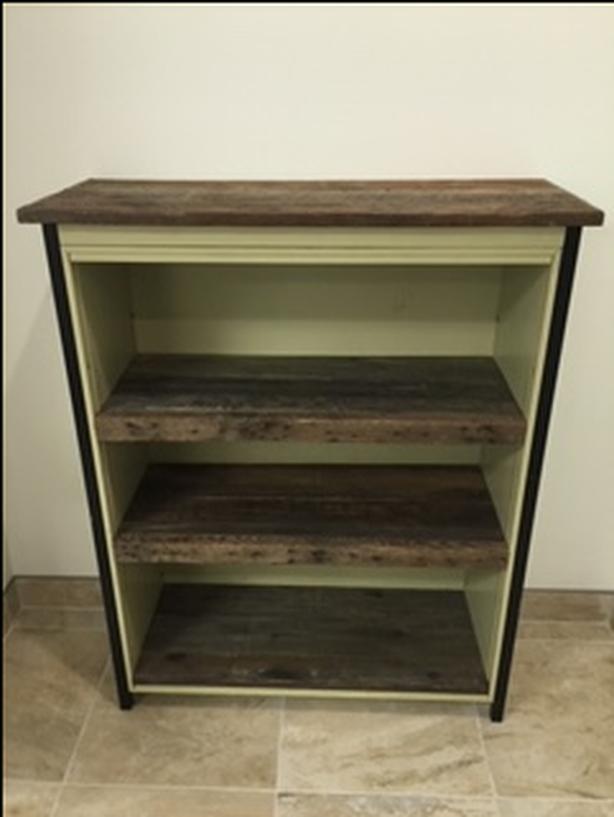 Upcycled Vintage Industrial 3 Tier Metal/Barn Wood Shelf