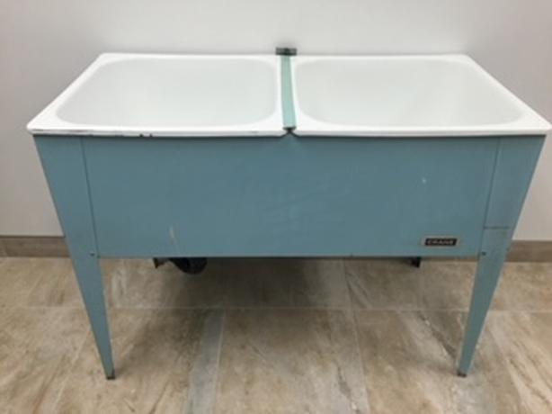 Vintage 'CRANE' Double Basin Enamel Sink