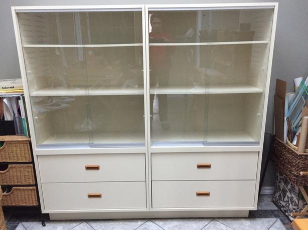 Cabinet, glass sliding doors, 4 drawers shelving unit for sale