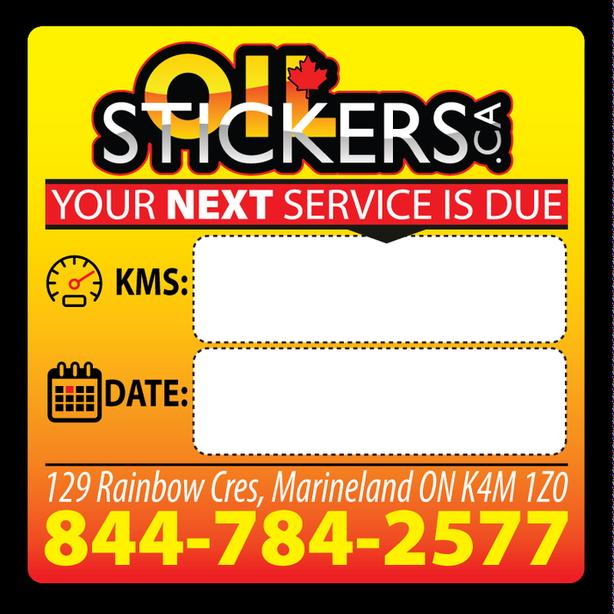 1000 x Custom Oil Change Reminder Service Stickers Window Clings