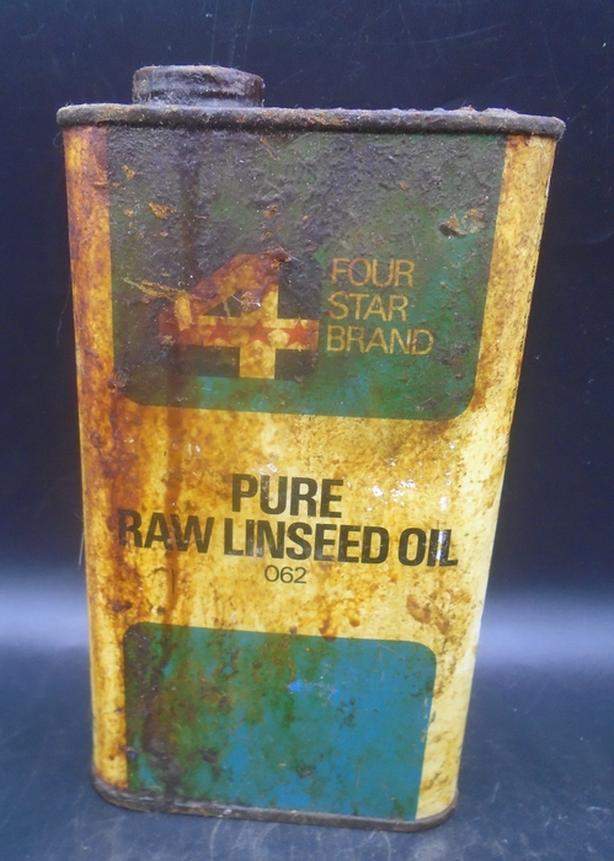 VINTAGE 1960's 4 STAR FOUR STAR PURE RAW LINSEED OIL PINT CAN